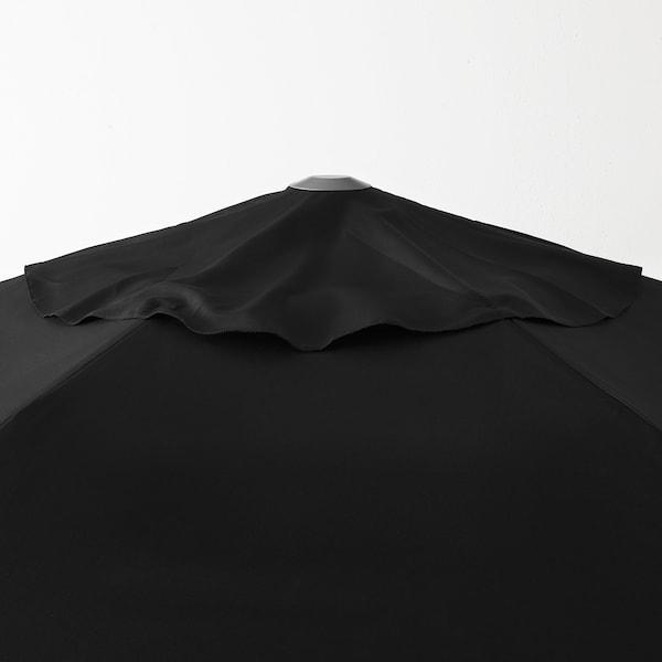 "KUGGÖ / LINDÖJA Parasol avec pied, noir/Huvön gris foncé, 118 1/8 """