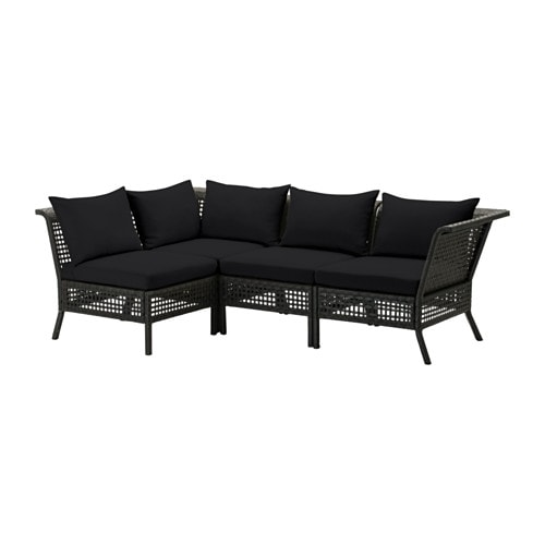 kungsholmen kungs canap d 39 angle 3 1 ext rieur brun noir noir ikea. Black Bedroom Furniture Sets. Home Design Ideas