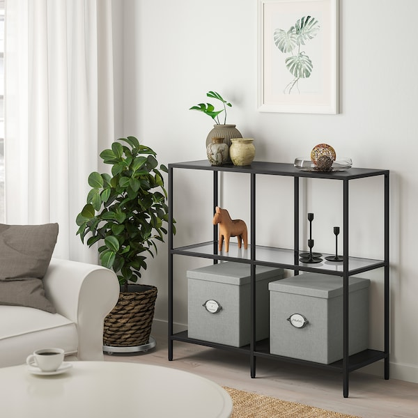 KVARNVIK Boîte de rangement avec couvercle - gris - IKEA
