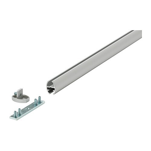 KVARTAL Tringle-rail simple   Raccords plurifonctionnels : pour fixer le rail au plafond ou au mur.   Peuvent aussi servir de rallonges.