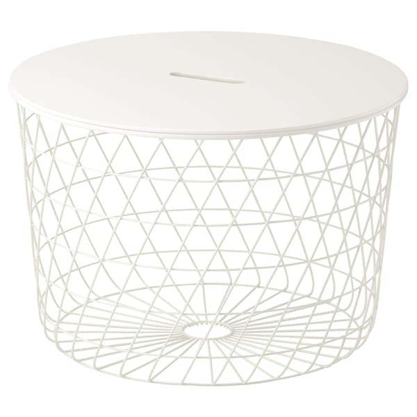 """KVISTBRO Table à rangement intégré, blanc, 24 """""""