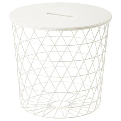 """KVISTBRO Table à rangement intégré, blanc, 17 3/8 """""""