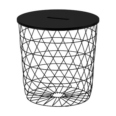 """KVISTBRO Table à rangement intégré, noir, 17 3/8 """""""