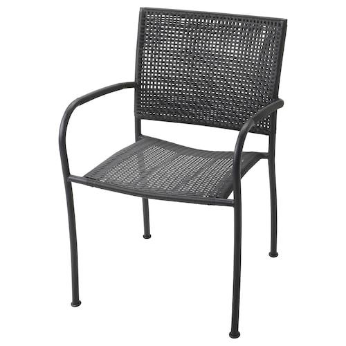"""LÄCKÖ chaise à accoudoirs, extérieur gris 243 lb 22 """" 23 5/8 """" 32 1/4 """" 16 1/2 """" 16 1/2 """" 16 1/2 """""""