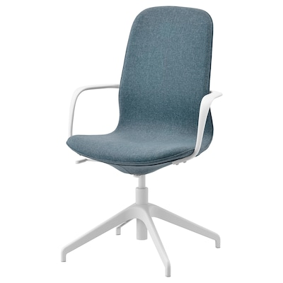 LÅNGFJÄLL Chaise conférence à accoudoirs, Gunnared bleu/blanc