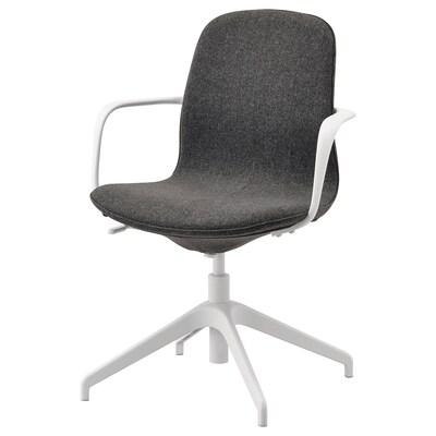 LÅNGFJÄLL Chaise conférence à accoudoirs, Gunnared gris foncé/blanc