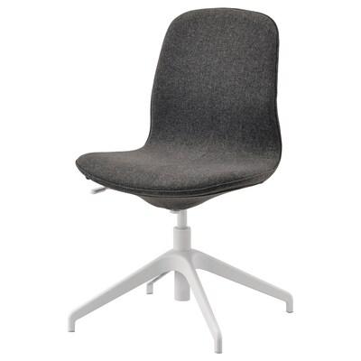 LÅNGFJÄLL Chaise conférence, Gunnared gris foncé/blanc