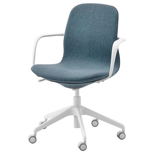 "LÅNGFJÄLL chaise de bureau av accoudoirs Gunnared bleu/blanc 243 lb 26 3/4 "" 26 3/4 "" 36 1/4 "" 20 7/8 "" 16 1/8 "" 16 7/8 "" 20 7/8 """