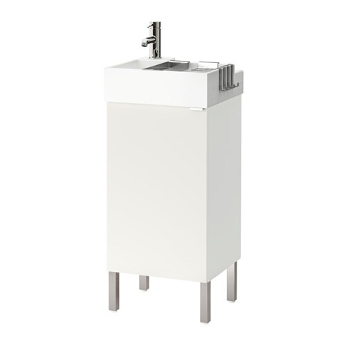 lill ngen meuble lavabo 1 porte acier inox blanc 41x41x92 cm ikea. Black Bedroom Furniture Sets. Home Design Ideas