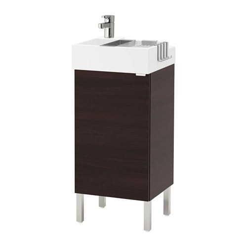 lill ngen meuble lavabo 1 porte acier inox brun noir 41x41x92 cm ikea. Black Bedroom Furniture Sets. Home Design Ideas