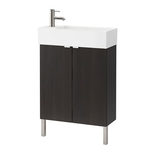 lill ngen meuble lavabo 2 portes acier inox brun noir 60x27x93 cm ikea. Black Bedroom Furniture Sets. Home Design Ideas