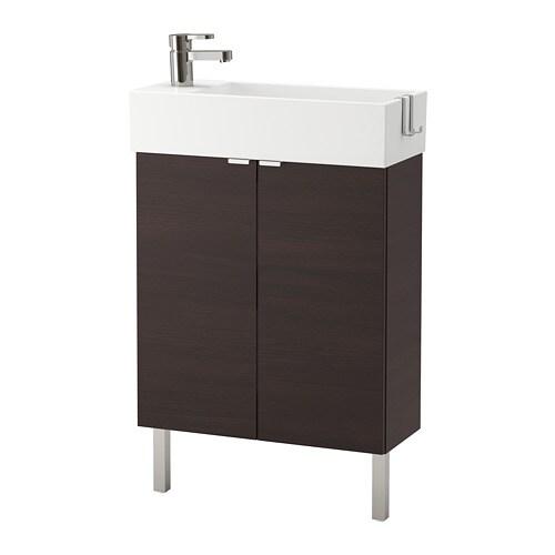 Lill ngen meuble lavabo 2 portes acier inox brun noir for Meuble 4 portes ikea