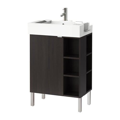 lill ngen meuble lavabo 1 porte 2 l fin acier inox brun noir 60x41x92 cm ikea. Black Bedroom Furniture Sets. Home Design Ideas