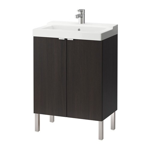 lill ngen t lleviken meuble lavabo 2 portes brun noir ikea. Black Bedroom Furniture Sets. Home Design Ideas