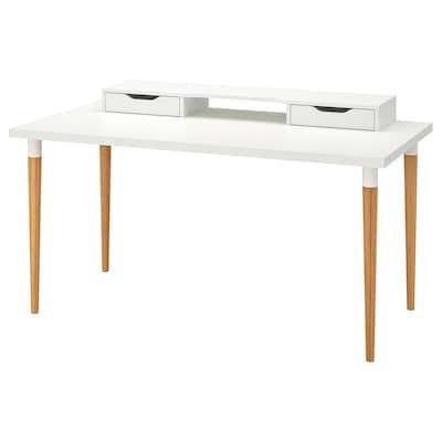 "LINNMON / HILVER Table, blanc/bambou, 59x29 1/2 """