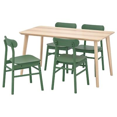 "LISABO / RÖNNINGE Table et 4 chaises, frêne plaqué/vert, 55 1/8x30 3/4 """