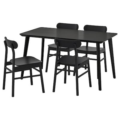 """LISABO / RÖNNINGE Table et 4 chaises, noir/noir, 55 1/8x30 3/4 """""""