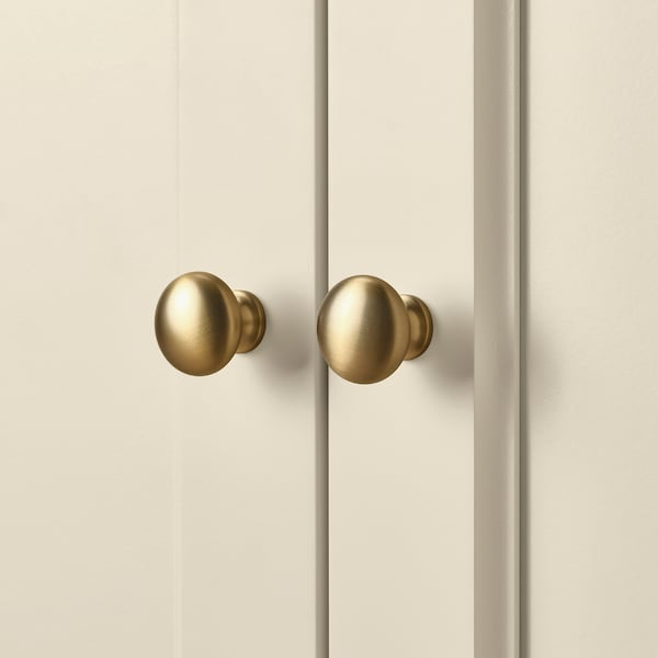 """LOMMARP Rangement à portes en verre, beige clair, 33 7/8x78 3/8 """""""