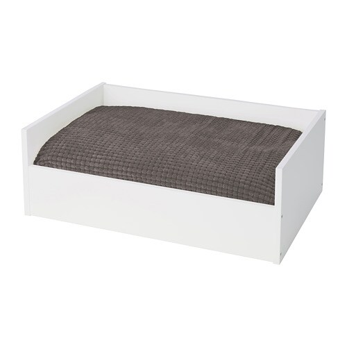 lurvig lit chat chien avec coussin blanc gris ikea. Black Bedroom Furniture Sets. Home Design Ideas