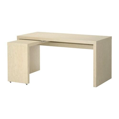 malm bureau retour coulissant bouleau plaqu ikea. Black Bedroom Furniture Sets. Home Design Ideas
