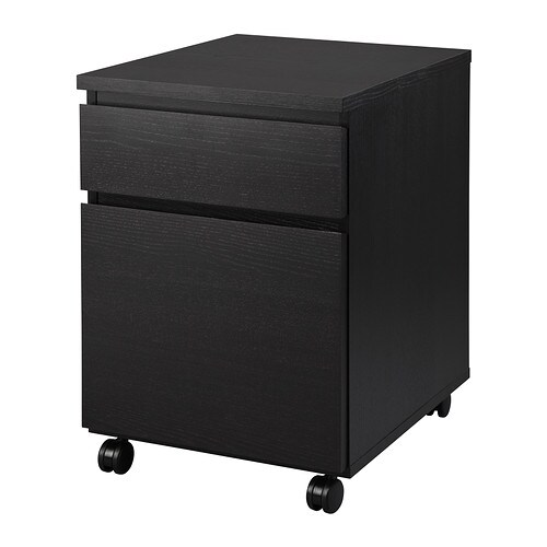 malm caisson tiroirs roulettes brun noir ikea. Black Bedroom Furniture Sets. Home Design Ideas