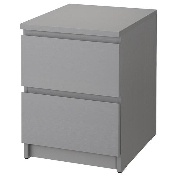 "MALM Commode à 2 tiroirs, gris teinté, 15 3/4x21 5/8 """