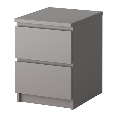 Malm commode 2 tiroirs gris ikea for Table de chevet malm chene blanchi