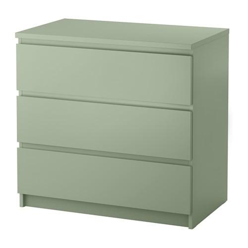Malm commode 3 tiroirs vert clair ikea for Chevet malm chene blanchi