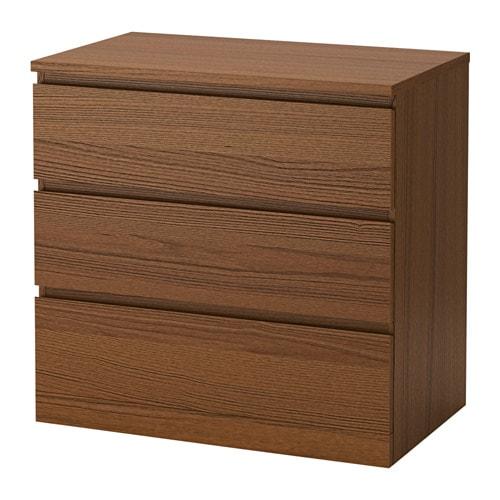 Malm commode 3 tiroirs teint brun fr ne plaqu ikea for Malm commode 4 tiroirs