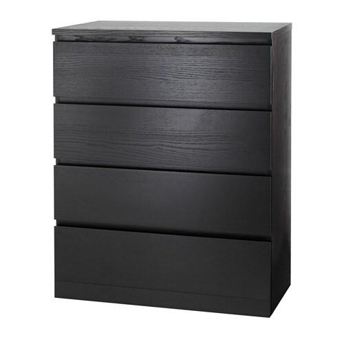 MALM Commode à 4 tiroirs, brun-noir brun-noir 80x100 cm