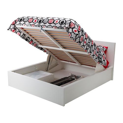 Malm lit coffre blanc deux places ikea for Cama canape carrefour