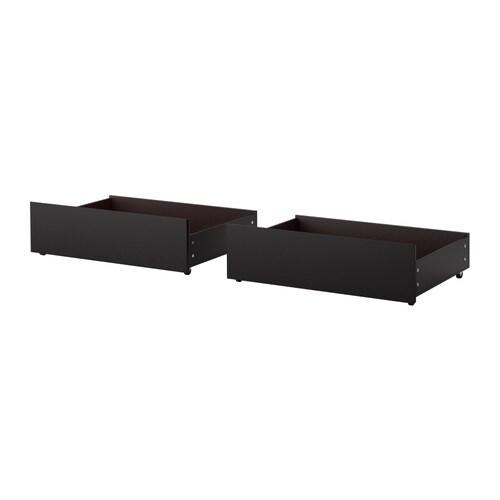 malm rangement pour lit haut brun noir 2 places 1place ikea. Black Bedroom Furniture Sets. Home Design Ideas