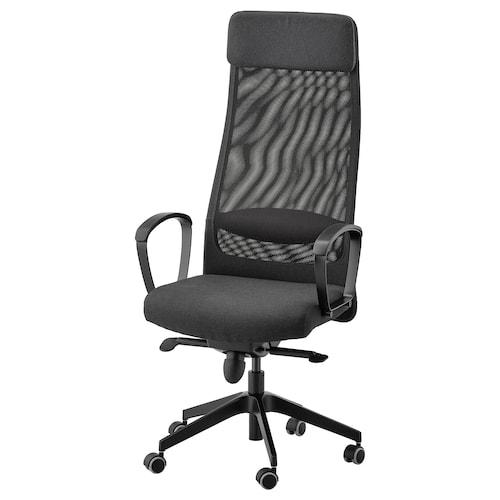 """MARKUS chaise de bureau Vissle gris foncé 242 lb 8 oz 24 3/8 """" 23 5/8 """" 50 3/4 """" 55 1/8 """" 20 7/8 """" 18 1/2 """" 18 1/8 """" 22 1/2 """""""