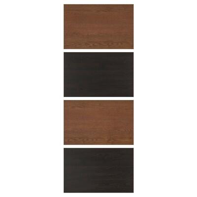 """MEHAMN 4 panneaux pr pte coul, effet frêne teinté brun-noir/effet frêne teinté brun, 29 1/2x79 1/8 """""""