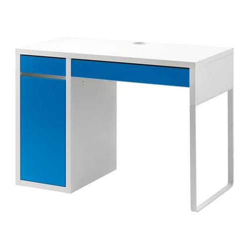 Micke bureau blanc bleu ikea - Bureau ikea noir et blanc ...