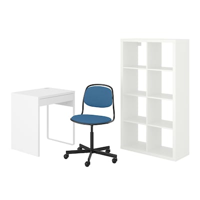 MICKE/ÖRFJÄLL / KALLAX Bureau+et rangement, avec chaise pivotante blanc/bleu/noir