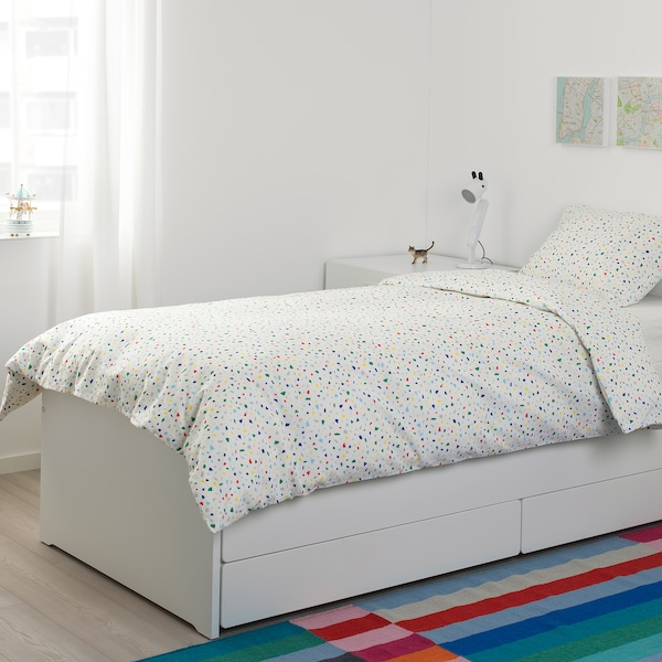 MÖJLIGHET Housse de couette et 1 taie, blanc/motif mosaïque, Une place
