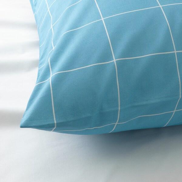 MÖJLIGHET Housse de couette et taie, bleu/motif graphique, Une place