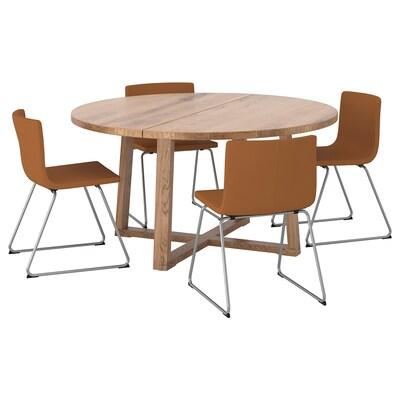 "MÖRBYLÅNGA / BERNHARD Table et 4 chaises, chêne plaqué teinté brun/Mjuk brun doré, 57 1/8 """