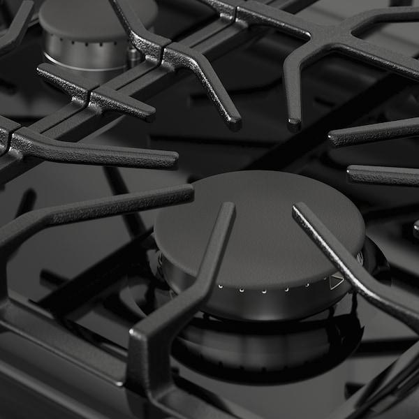 MOTSVARIG Cuisinière av table cuisson à gaz, noir acier inox