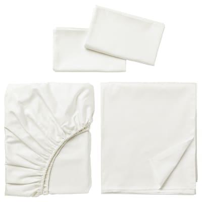 NATTJASMIN Ensemble draps, blanc, Grand deux places