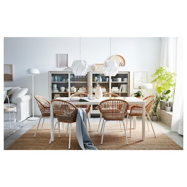 NILSOVE Chaise à accoudoirs, rotin/blanc
