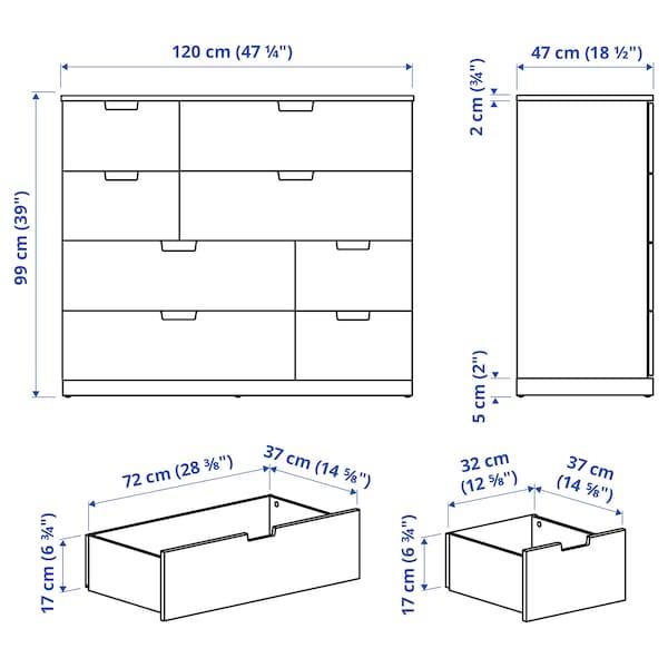 """NORDLI Commode à 8 tiroirs, blanc, 47 1/4x39 """""""