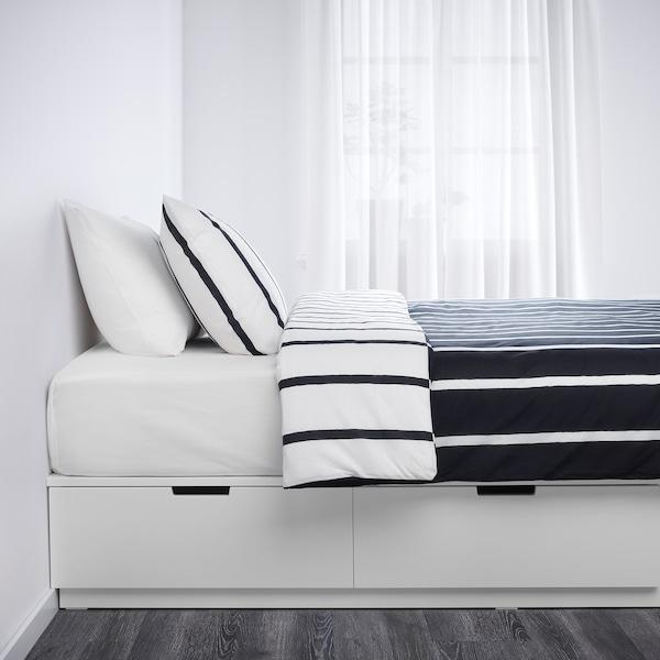 NORDLI Lit à tiroirs intégrés, blanc, Très grand deux places