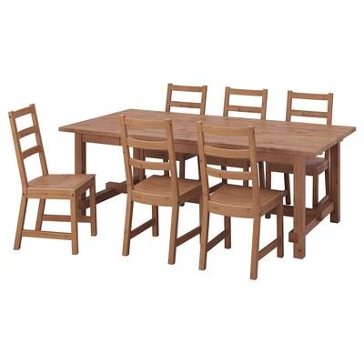 """NORDVIKEN / NORDVIKEN Table et 6 chaises, teint anc/teint anc, 82 5/8/113 3/4x41 3/8 """""""