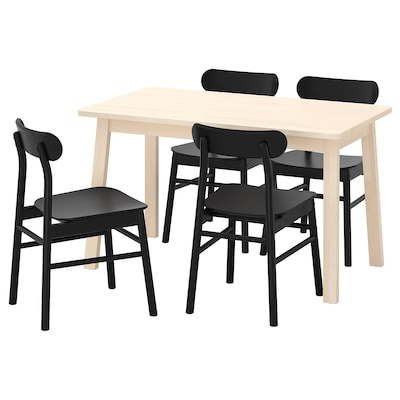 """NORRÅKER / RÖNNINGE Table et 4 chaises, bouleau/noir, 49 1/4x29 1/8 """""""