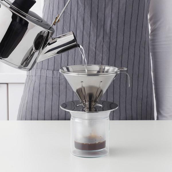 ÖVERST Ensemble filtre à café métal, 3 p, acier inox
