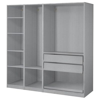"""PAX Agencement armoire-penderie, teinté gris effet frêne, 78 3/4x23 5/8x79 1/4 """""""