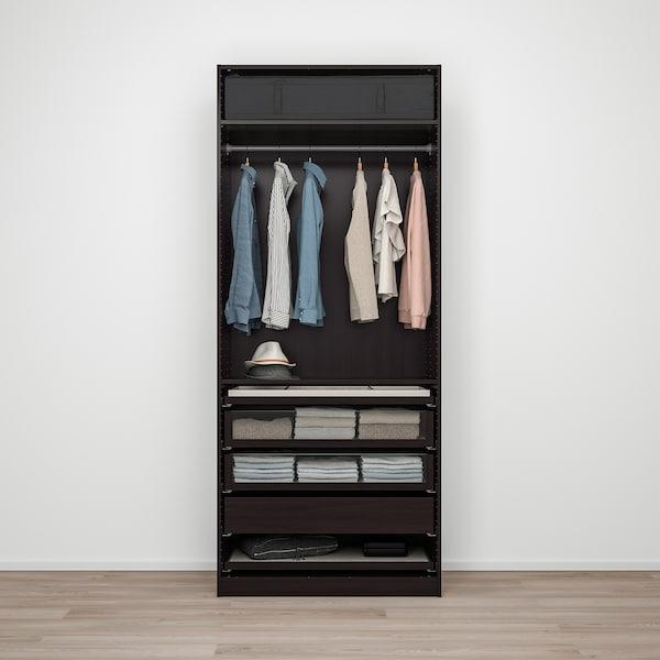 "PAX / FORSAND Agencement armoire-penderie, brun-noir/effet frêne teinté brun-noir, 39 3/8x23 5/8x93 1/8 """