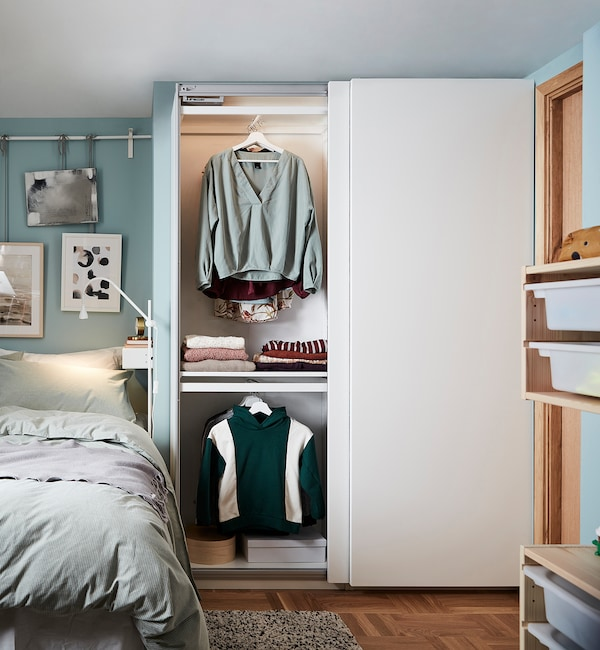 "PAX / HASVIK Agencement armoire-penderie, blanc, 59x17 3/8x79 1/4 """